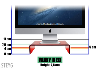 STEYG iMac monitor stand Ruby Red